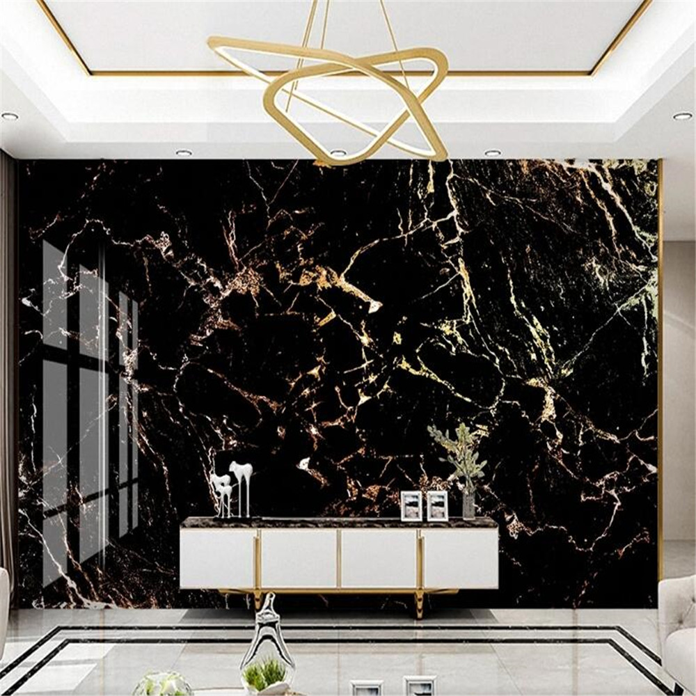 Milofi light luxury golden black marble pattern hotel hotel front desk background wall