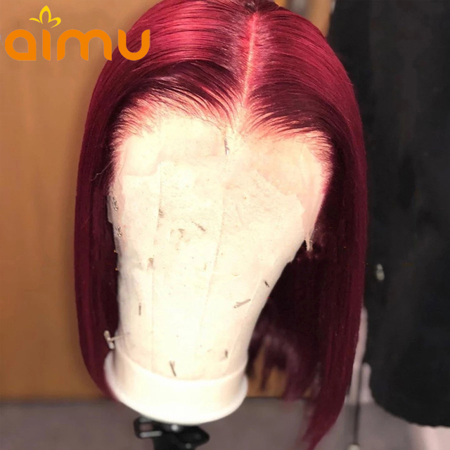 Pelucas Bob corto para mujeres negras 99j Burgundy peluca con malla Frontal 13x6 HD peluca Frontal transparente de color rojo cabello humano corte Romo Remy