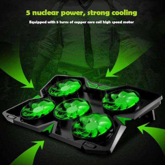 Laptop Cooler Notebook Cooling Pad With 5 LED Fan USB Cooler Pad Computer Stand Mat For 12-17 Inch PC Laptop Speed Adjustable 3