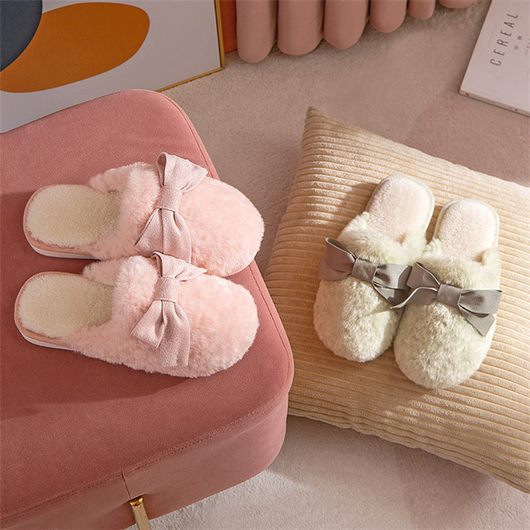 Cute Bow Fur Slippers For Women Winter New Warm Flock Plush Bedroom Ladies Flat Shoes House Couples Furry Slippers