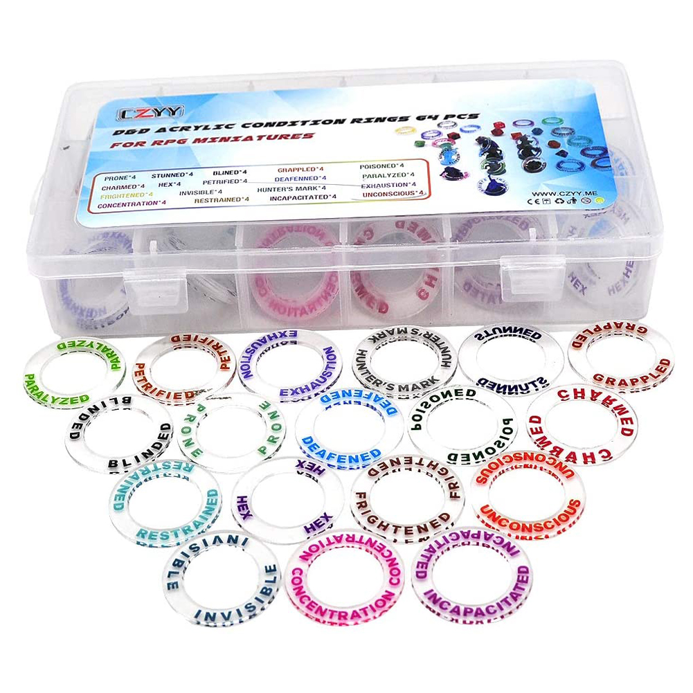 D&D Acrylic Condition Rings 72 PCS Status Effect Markers Box Great DM Tool For Dungeons & Dragons, Pathfinder And RPG Miniatures