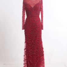 Burgundy Formal Evening Dresses Long Sexy See-through Embroi