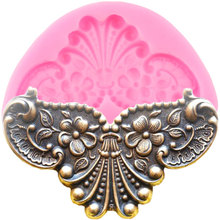 3D зеркальное изображение медальона рамки силиконовые формы барокко рельеф цветок инструменты для украшения тортов из мастики ювелирные изделия Конфеты шоколадные формы
