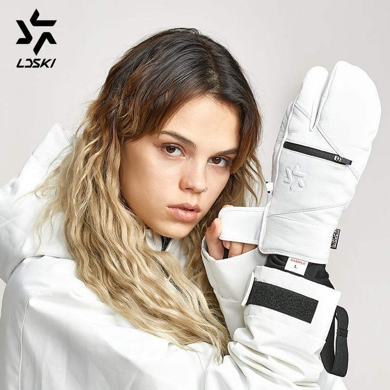 Goat Skin Leather Ski Mittens Light Weight LDSKI Scout Ski Gloves Snowboard Gloves Thumb Fingers Thermal Lining Zipped Pocket