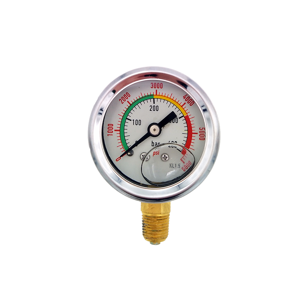 PCP Paintball Air Gun Rifle Vertical Manometer For Fill Station Double-Range 400bar / 6000psi High Pressure Gauge 1/8npt