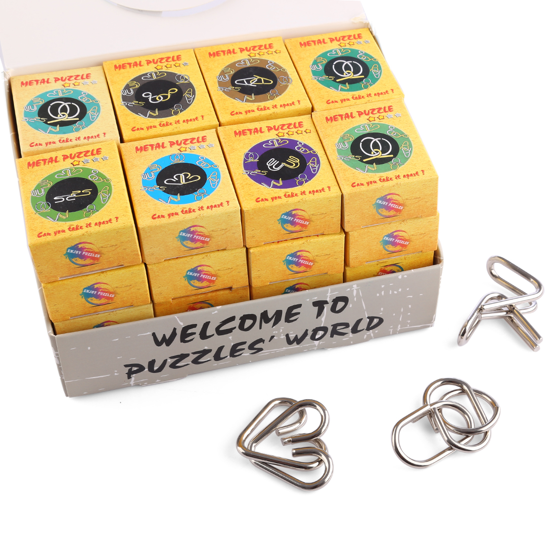 32Pcs Classic Intelligent Montessori Metal Wire Puzzle Baffling Brain Teaser Magic Rings Game Toys For Adult Children Kids Gifts