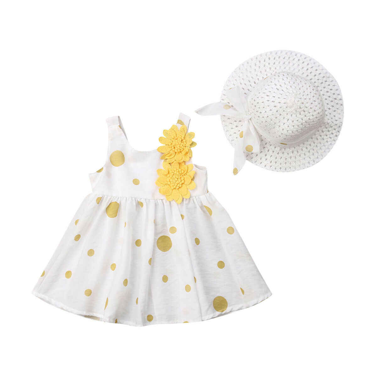 Cute Infant Kids Baby Girl Summer Dress Sleeveless Floral Dot Boho Dresses Hat 2PCS Princess Girls Party Clothes 6M-3Y