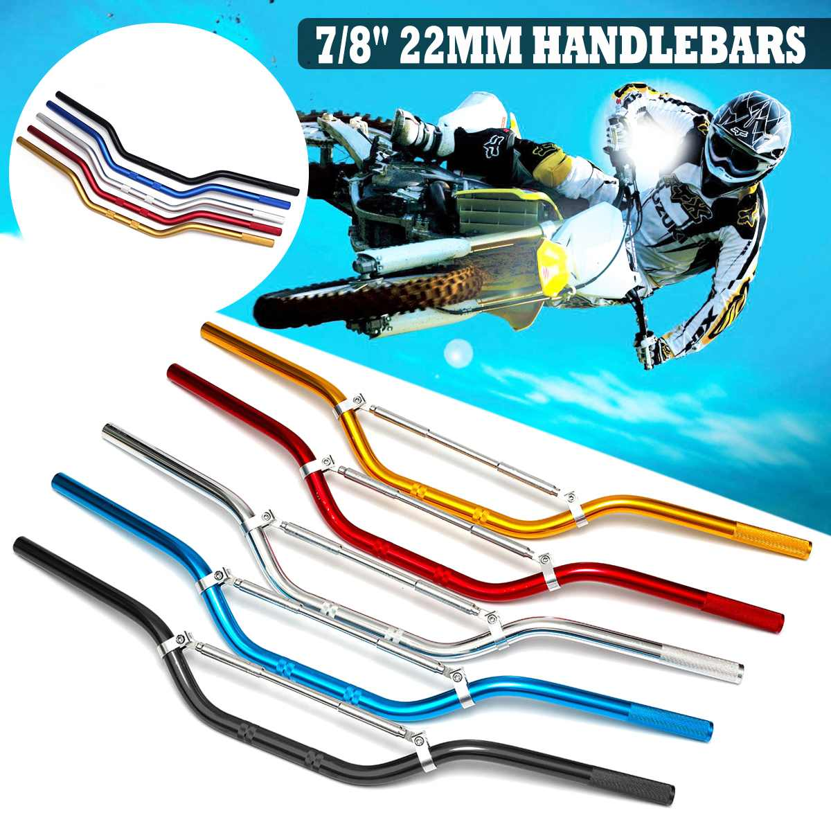 22mm Universal Motorcycle Handlebar Motor Motorbike Aluminum Alloy Handlebars Moto Scooter Retro Black Anti-rust Handle Bars
