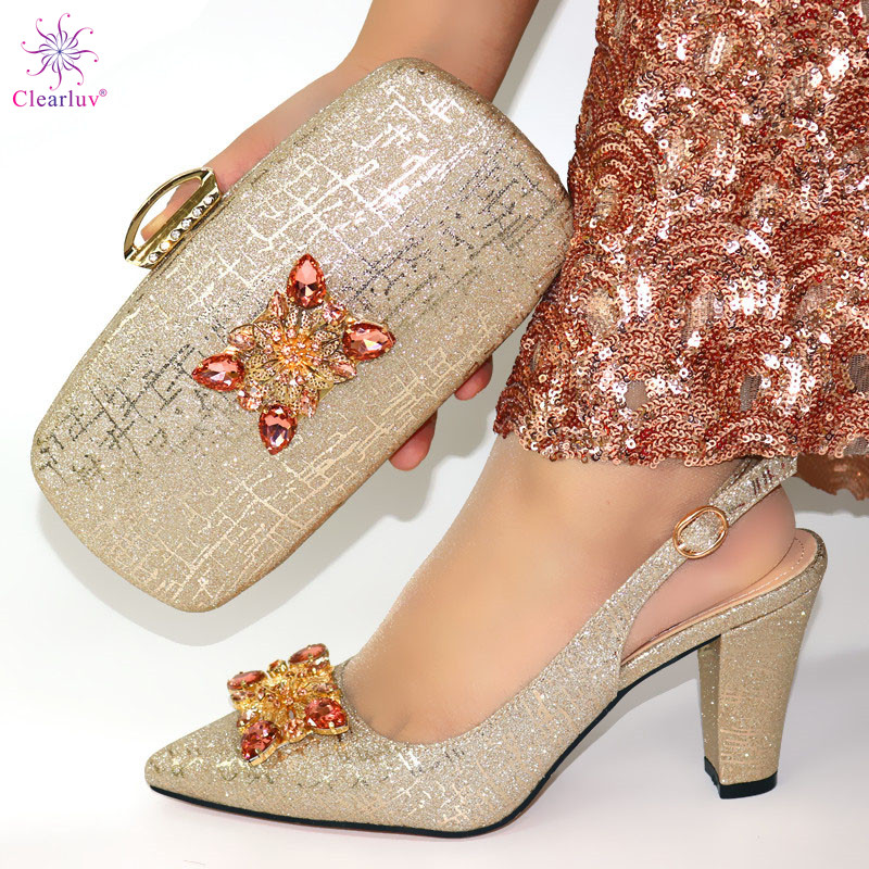 African Style Elegant Ladies Shoes And Matching Bag Set 2019 Italian Design Rhinestone High Heels Shoes And Bag Set For Party 5