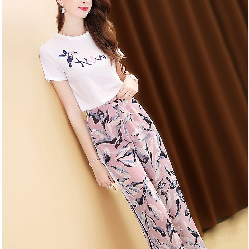 Loose Pants WOMEN'S Suit 2019 New Style Summer Wear Elegant Hipster Fashion Printed Western Style Goddess Two-Piece Set