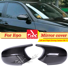 For BMW LCI E90 4-Door Sedan Real Carbon Fiber Rear View Side Mirror Cover Caps Add on Style M3 Look 1:1 Replacement 2-Pcs 08-11