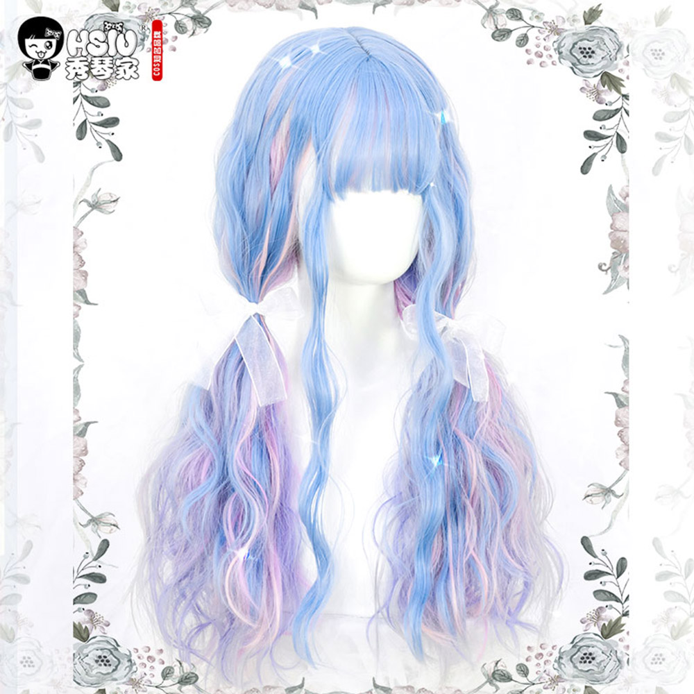 HSIU Lolita Wig Harajuku UnicornRainbow Macaron Little Fairy Marshmallow Colored Candy Dreamy Fluffy Fiber Synthetic Wig