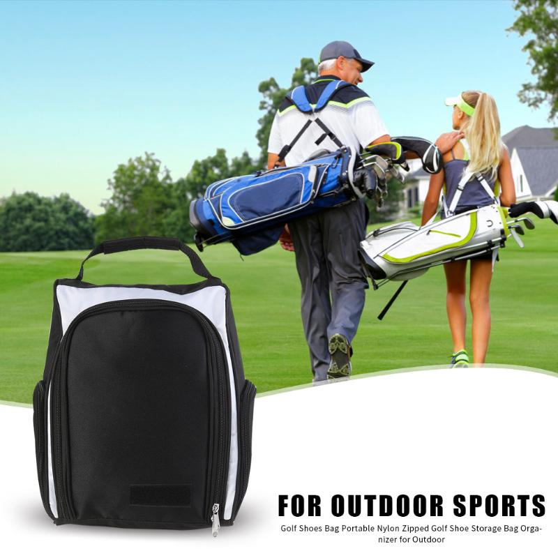 Golf Shoes Bag Tote Portable Nylon Zipped Golf Shoe Storage Bag Case Carrier Organizer For Outdoor Sports Black White 38x24x14cm