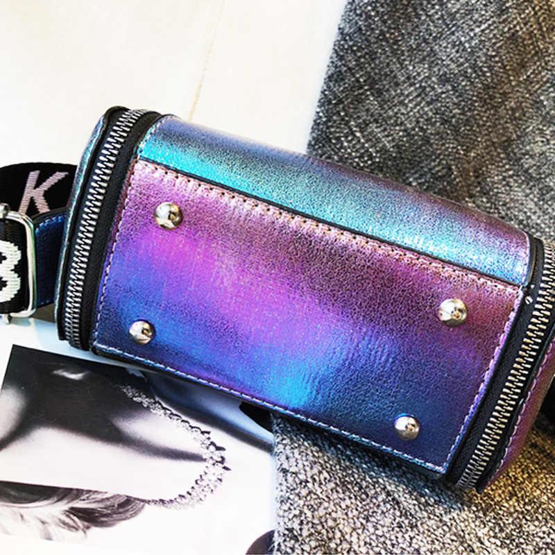 Litthing Laser Verão Mulheres Carta Sacos de Ombro INS Feminino Bolsa PU Messenger Bags Para Lady Crossbody Balde Saco Requintado
