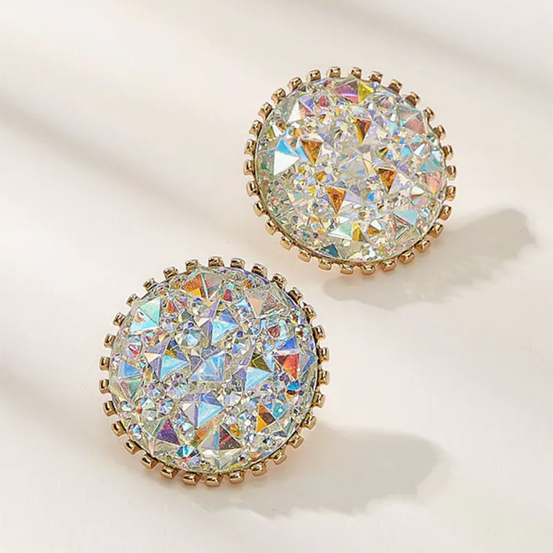 Rhinestone Iridescence Flash Exaggerated Earrings for Women Wedding Party Club Sexy Fashion Jewelry Accessories brincos(China)
