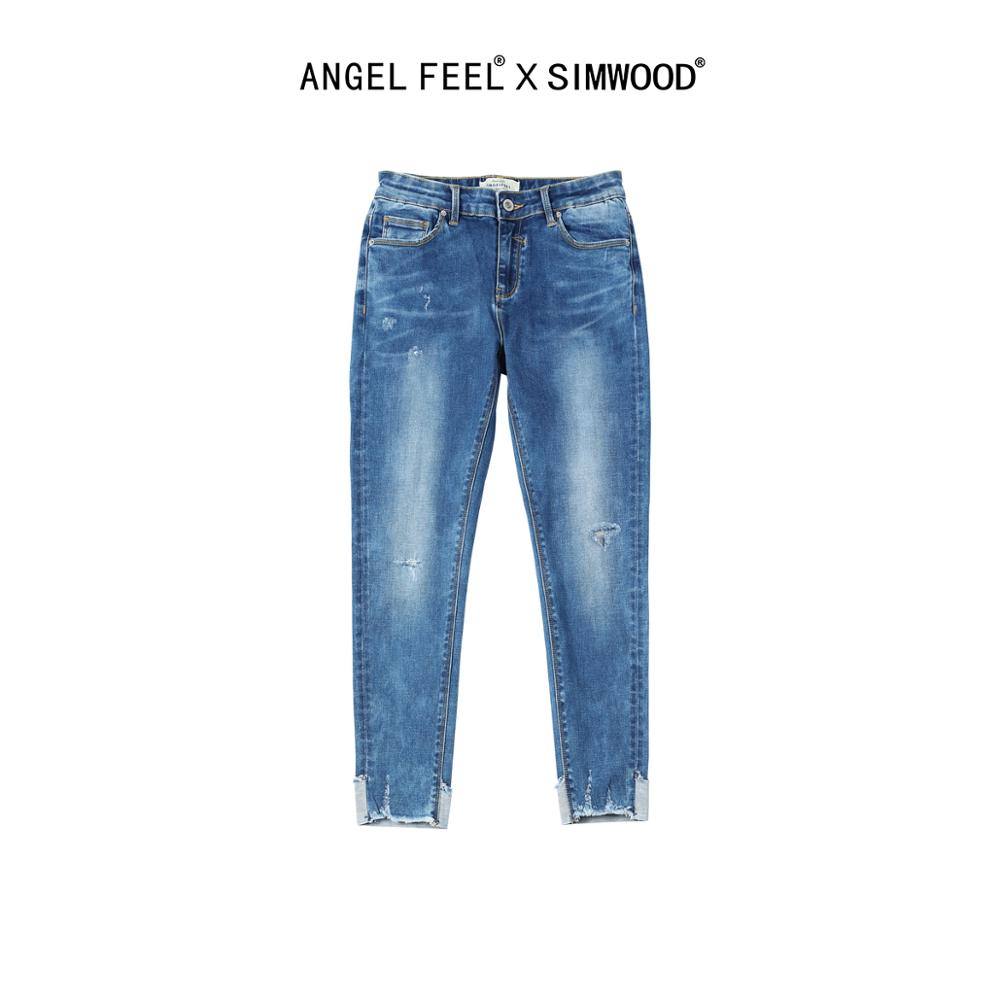 SIMWOOD 2020 Women Jeans Slim Fit Spring Summer New Skinny Fashion Ripped Hole Jean Pencil Ankle-length Denim Pants NC017012