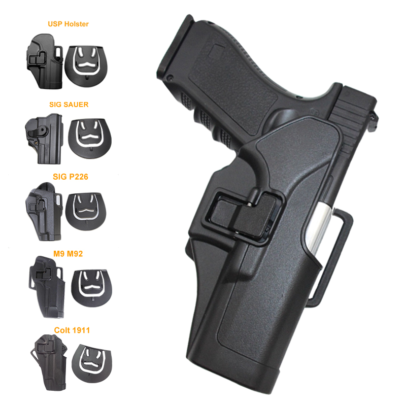 Tático coldre de arma para glock 17 19 beretta m9 colt 1911 sig sauer p226 hk usp airsoft cinto coldre geral caça pistola caso