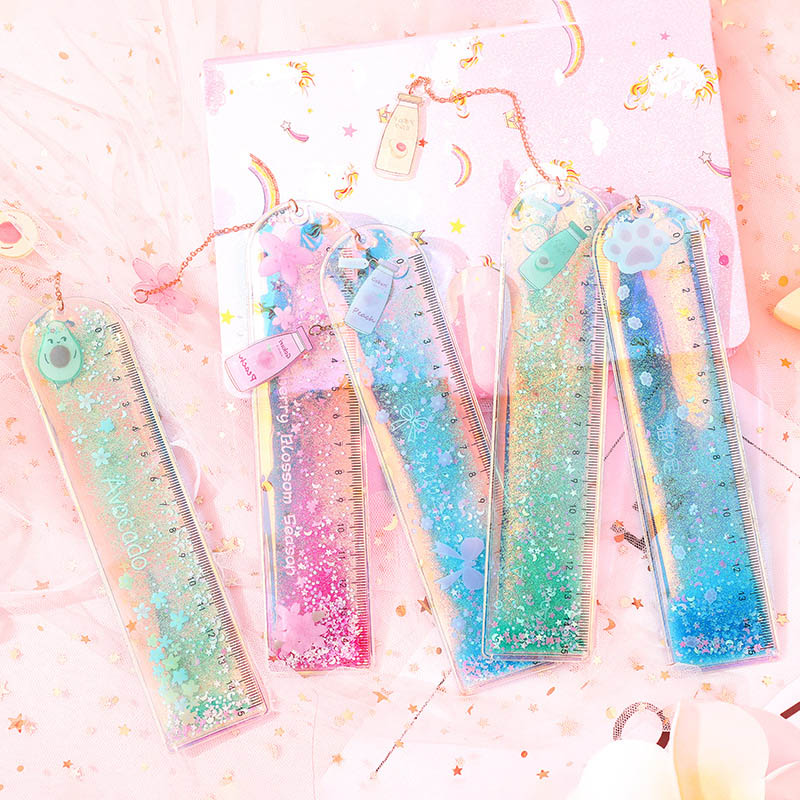 Cute Avocado Straight Ruler Kawaii Quicksand Sequin Glitter Ruler With A Pendant Bookmark For Kids School Measuring Stationery