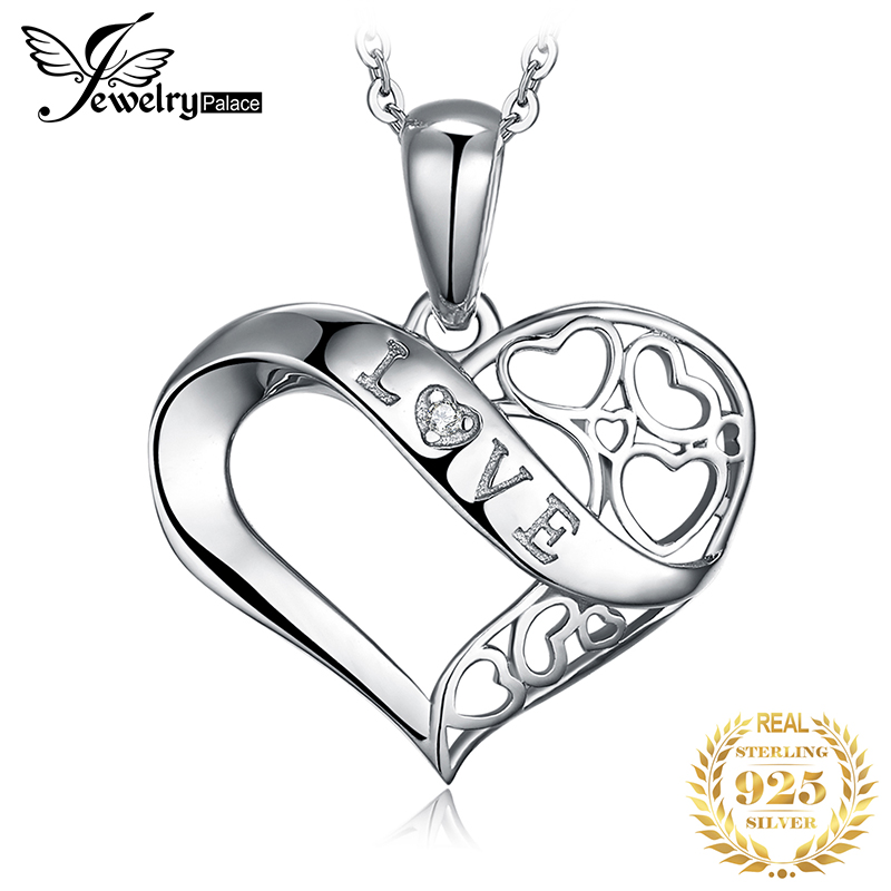 JPalace Infinity Silver Pendant Necklace 925 Sterling Silver Choker Statement Necklace Women Silver 925 Jewelry Without Chain in Pendant Necklaces from Jewelry Accessories