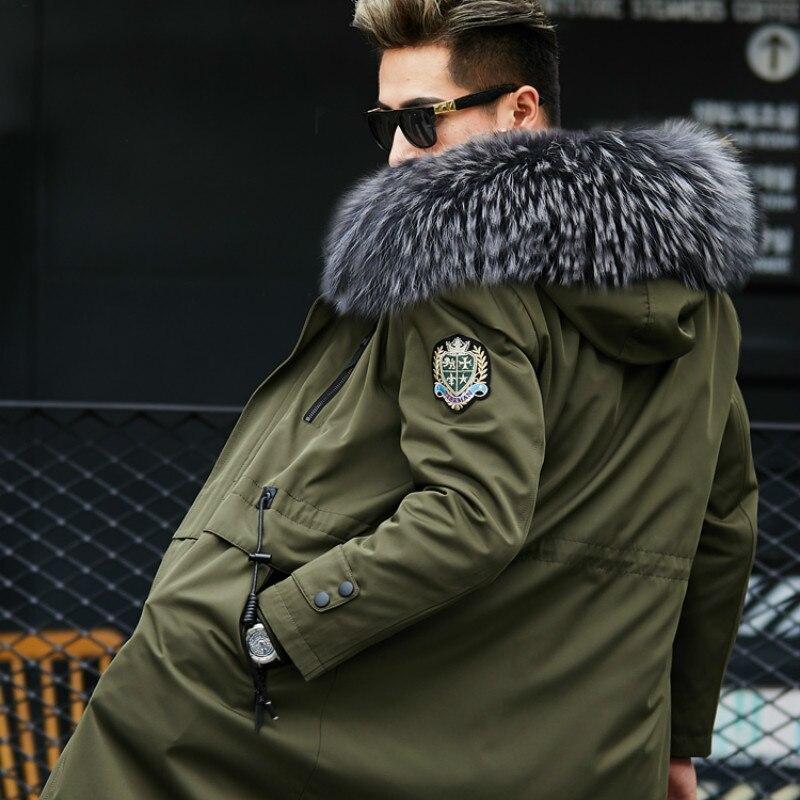 Real Fur Coat Natural Mink Fur Liner Raccoon Fur Collar Parka Men Streetwear Warm Parkas Plus Size Jackets Mink Fur Coat YY593