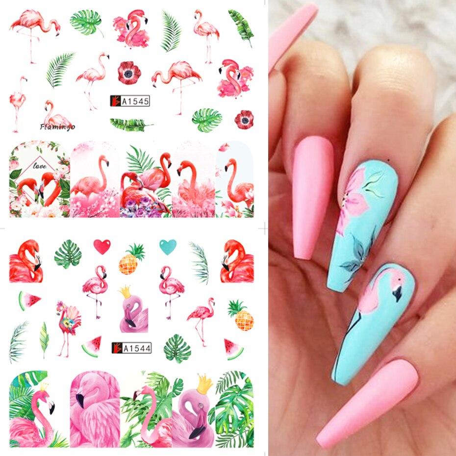 12 видов конструкций Фламинго Rainforest наклейки для дизайна ногтей цветные цветы листья Водная передача слайдер фольга мультфильмы наклейки ...
