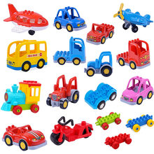 legoing duploed city Trailer Car motorcycle boat Large particle Building Blocks Bricks Vehicle technic accessory Toys for kids(China)