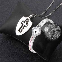 Nowy 100 języków projekcji miłość serce zamek na klucz naszyjniki wisiorek bransoletki dla par kochanka Choker ze stalowa bransoletka biżuteria
