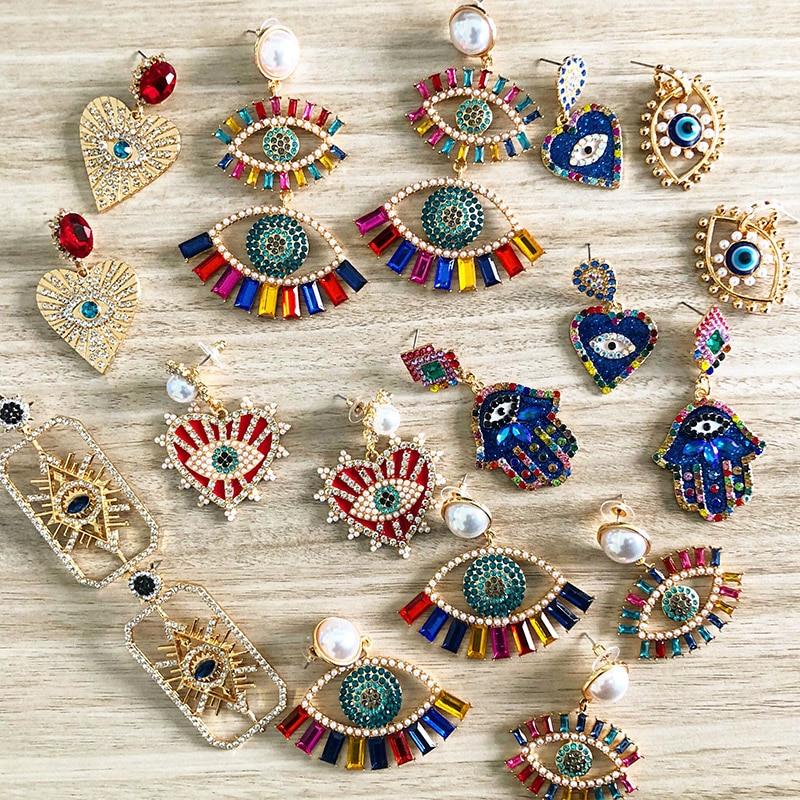 JUJIA Trendy Ethnic Love Heart Shape Evil Eye Drop Earrings For Women Vintage Statement Crystal Dangle Earring Jewelry Gift