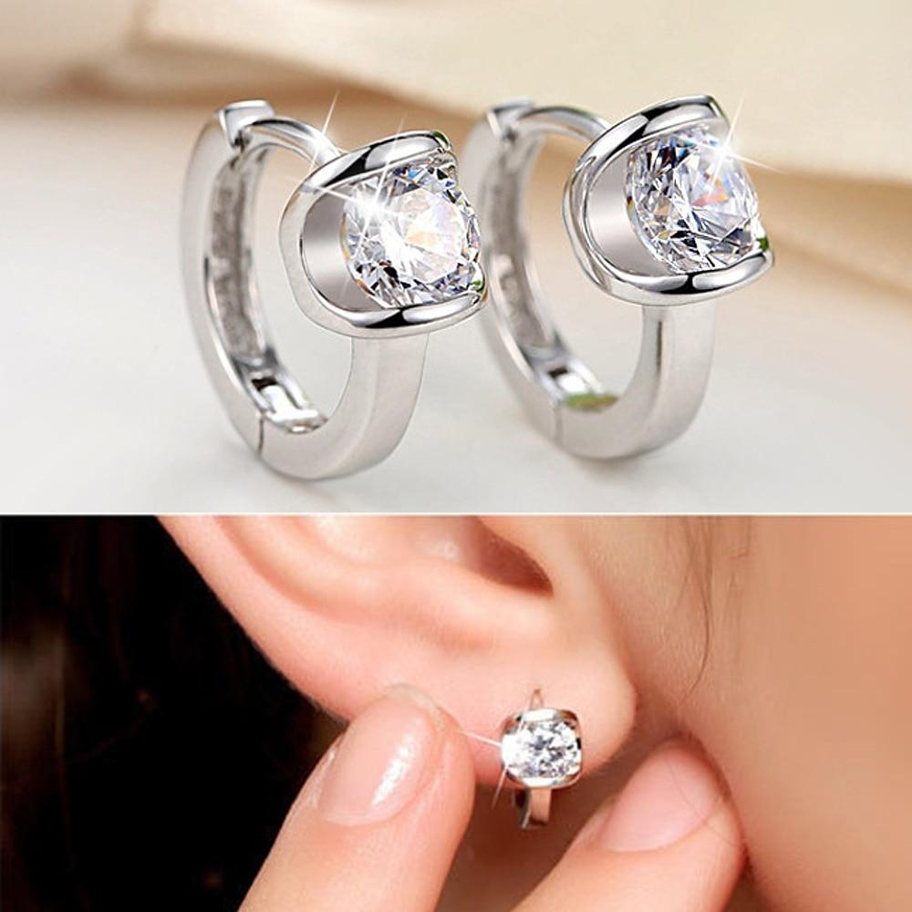 Fashion Simple 925 Silver Circle Zircon Small Earring For Baby Kids Child Girls Women Loop Huggies Earring Jewelry