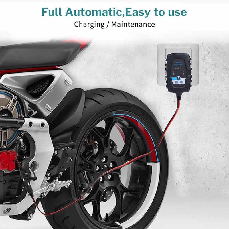 سيارة شاحن بطارية 12V دراجة نارية إصلاح شاحن AGM هلام الرطبة شاحن العالمي الرصاص حمض SAE كابل نبض USB شاحن سيارة