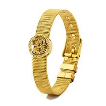 Luxury Romantic Gold Color Adjustable Stainless Steel CZ Bracelet With Love Shiny Rhinestone Watch Belt Bangle Jewelry For Women luxury brand fashion jewelry bangle titanium steel gold color love letter bracelet