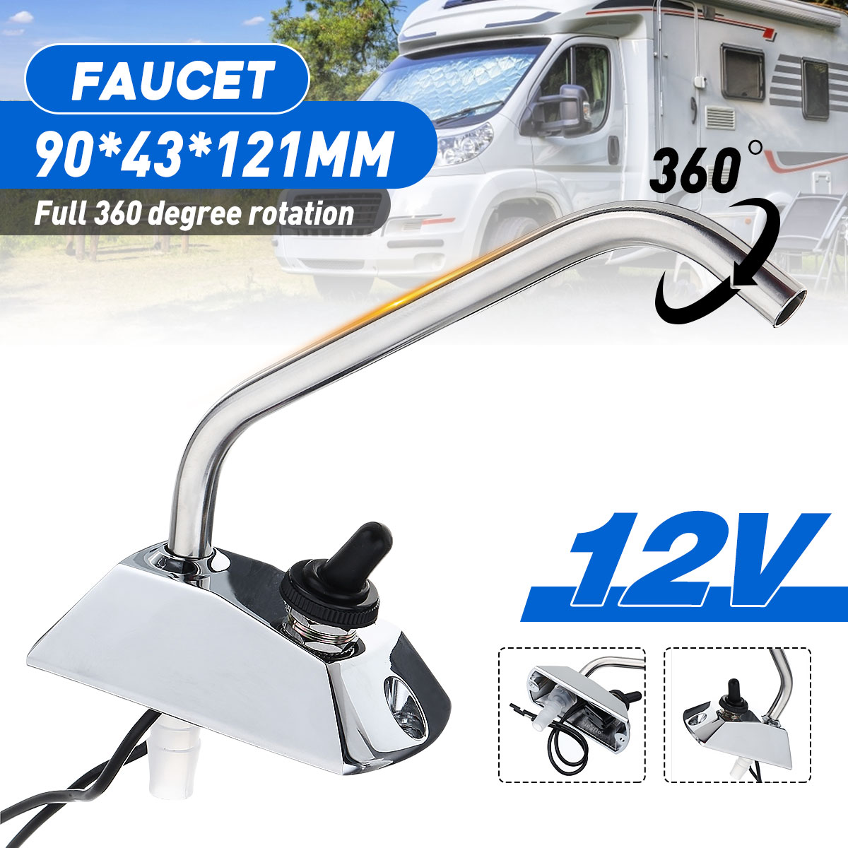 Full 360 Degree Rotation 12V Galley Faucet Tap With Switch For Caravan Boat Motorhome RV Marine Hardware Zinc-alloy Metal