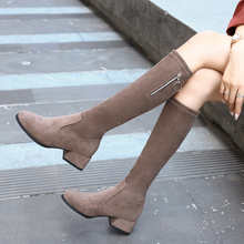 Sexy Knee high boots Elegant High heel Black Brown Khaki Slip On Woman''s Fashion Short Fluff Autumn Winter Boots 2019 New