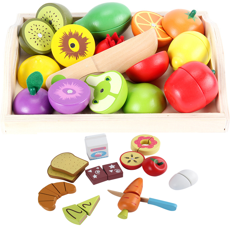 Kids Toys Educational Cutting Set Fruits/ Vegetable/Dessert Wooden Toys Play Food Kitchen Children Play House Montessori Toy