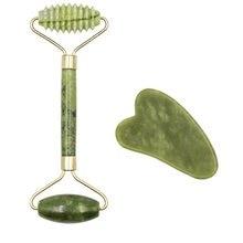 Rouleau de Massage Facial, planche de Guasha à Double têtes en pierre de Jade naturelle, lifting du visage, Relaxation de la peau, amincissant, beauté du cou