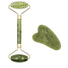 Facial Massage Roller Guasha Board Double Heads Natural Jade Stone Fac