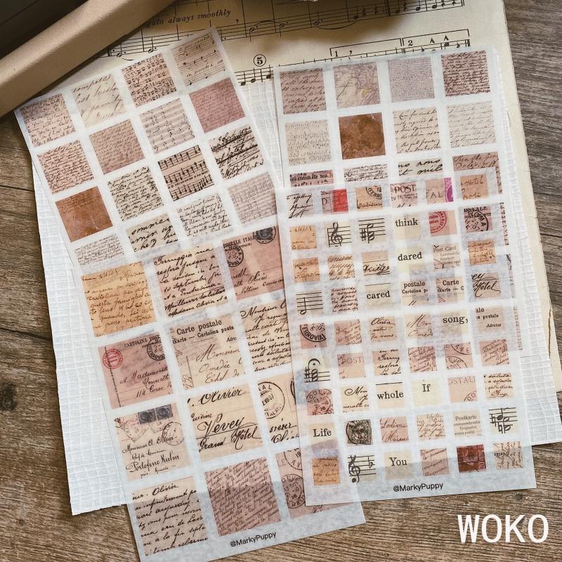 WOKO 4Sheets Retro Stamp Letter Postmark Musical Note Old Handbook Material Deco Die Cut Sticker DIY Bullet Journal Scrapbooking