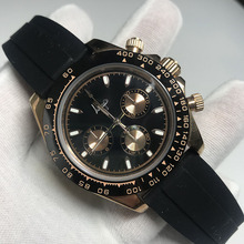Luxury Brand New Rose Gold Silver Ceramic Bezel Men Sapphire Automatic Mechanical Black Rubber Sport Watch 40MM AAA+