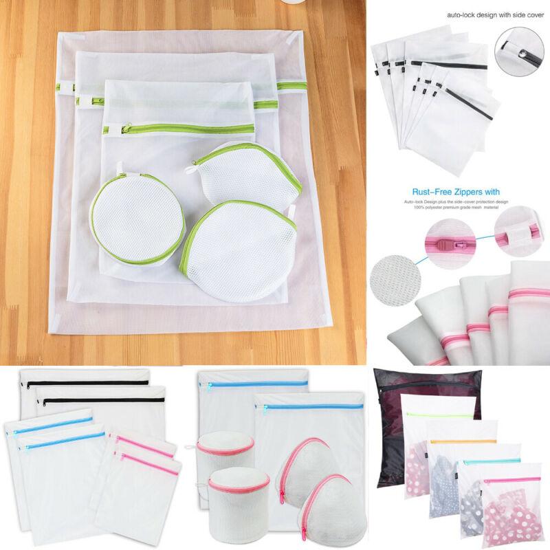 Reusable Underwear Laundry Basket Washing Storage Bag Net Mesh White