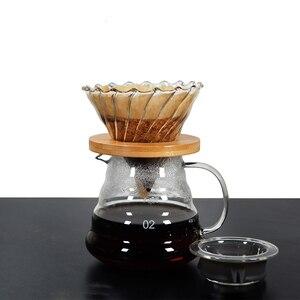 Image 2 - 500ML/300ML di Legno staffe di Caffè di Vetro Dripper e Pot Set Japness stile V60 di Caffè di Vetro Filtro Riutilizzabile filtri di caffè