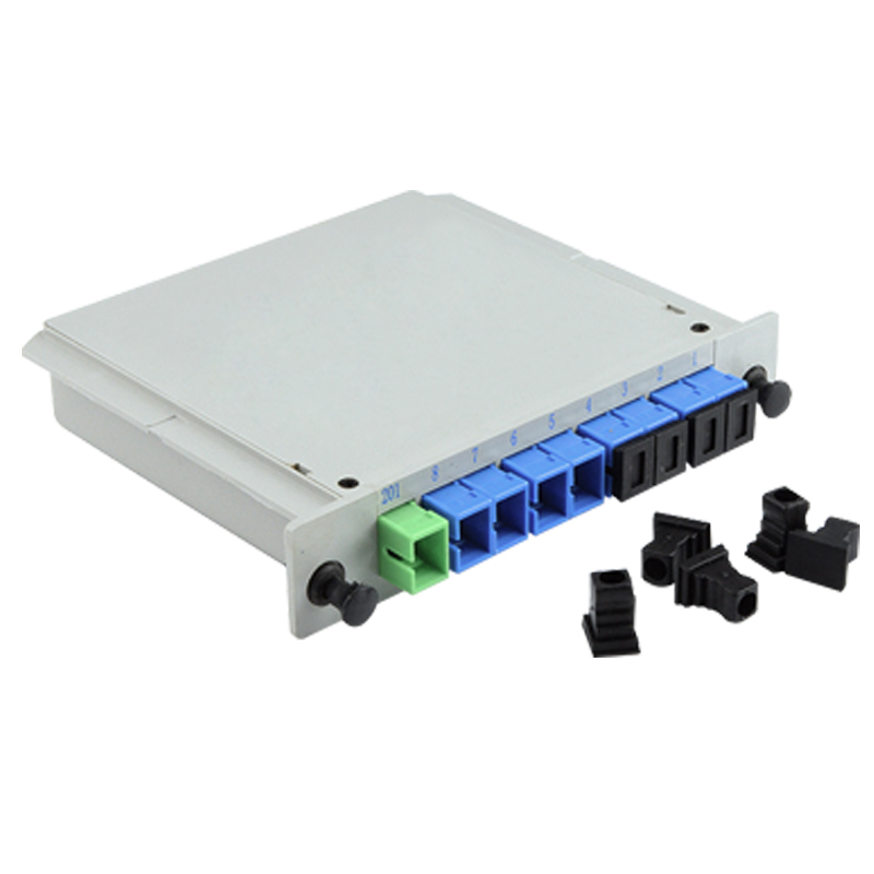 Free Shipping SC/UPC 1X8 Fiber Optic FTTH Cassette Box Optical Coupler SC UPC PLC 1X8 Fiber Splitter Cassette