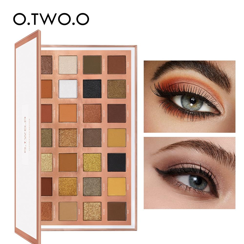 O.TWO.O 28 Colors Eyeshadow Palette Matte Glitter Shiny Smoky Eyes Waterproof Eye Shadow Pallete High Pigment Metallic Cosmetics
