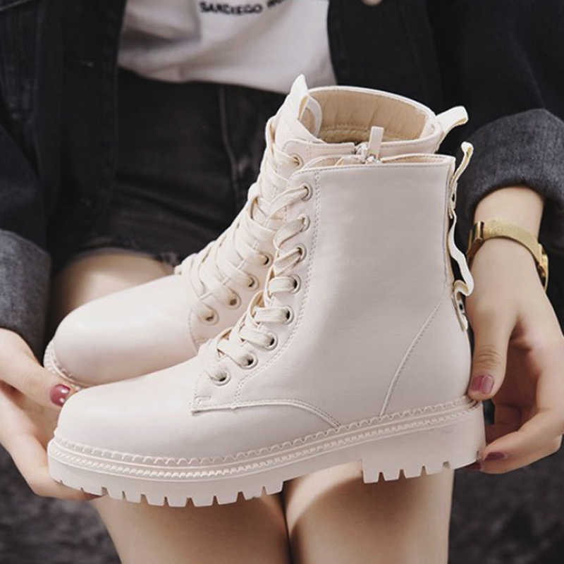 Moda Bayan Botları Fermuar düz ayakkabı Kadın Yüksek Topuk Platformu PU Deri Çizmeler Lace Up Kadın Ayakkabı yarım çizmeler Kadın Patik