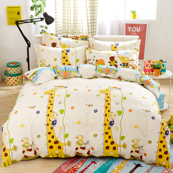 Giraffe Cartoon Style 100% Cotton Kid/Adult Active Printing Duvet/Blanket Cover Flatsheet PillowCases Set 3/4pcs set