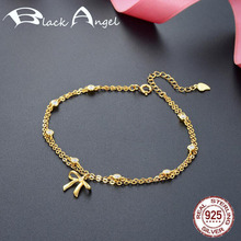 Fashion Real 925 Sterling Silver Adjustable Charms Bracelet for Women Fine Jewelry Gold Color Bowknot Bracelets emith fla 100% real 999 sterling silver bangle opening fashion jewelry for women lotus adjustable vintage thai silver bracelets