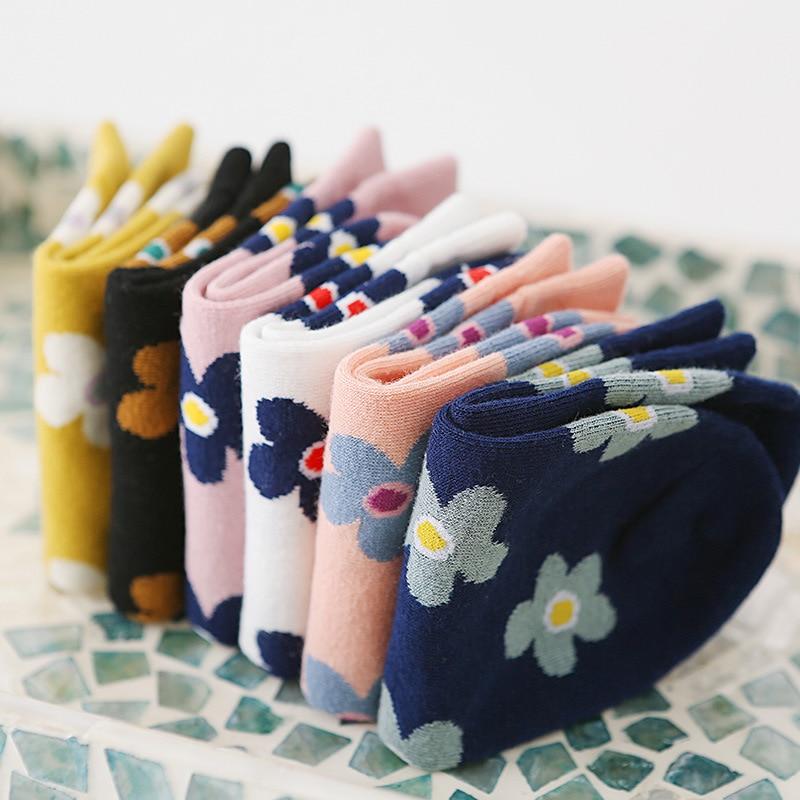 Korean Freshness Kawaii Woman Socks Cotton With Flowers Harajuku Pink Socks Women For Spring Summer  Casual Calcetines Mujer 604