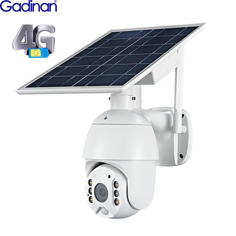Gadinan 4G ip-камера на солнечной батарейке, двусторонняя аудиосвязь, PTZ Dome Starlight, полноцветная ИК-камера, P2P Sim-карта и SD-карта, AI PIR Detect Cloud Camera