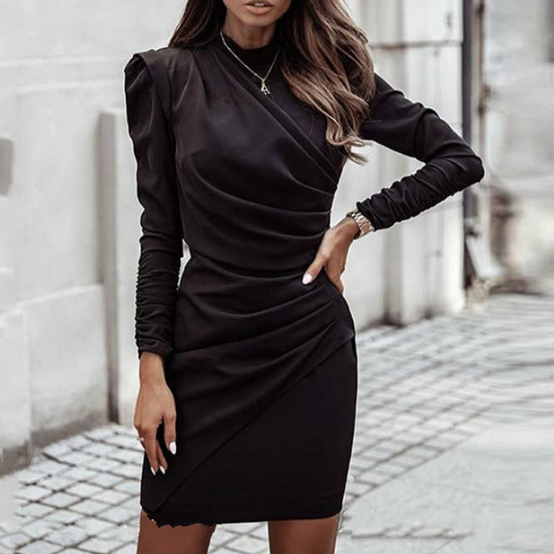 2021 Spring Elegant Stand Collar Solid Party Dress Women Vintage Pleated Dresses Ladies Puff Long Sleeve Bodycon Dress Vestidos 8