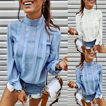 Office Blouse Women Long Sleeve Back Button Womens Shirts Casual Solid O Neck Femme Tee Tops Lady Clothes Blusas Y Camisas Mujer цены