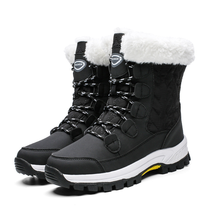 2021 Winter Big Size Khmer Cotton Shoes Thick-soled Waterproof Snow Boots Women's Plush Warm and Thick Women's Shoes